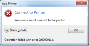 cant connect to printer error message